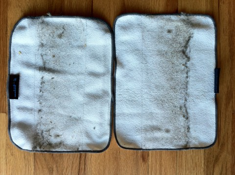 Mint Microfiber Pads after cleaning