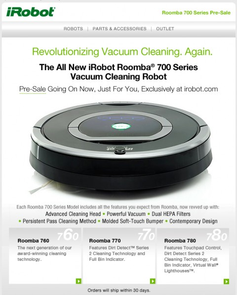 iRobot Roomba 700 Series Pre-Sale Announcement